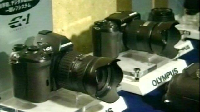 Olympus cameras on display