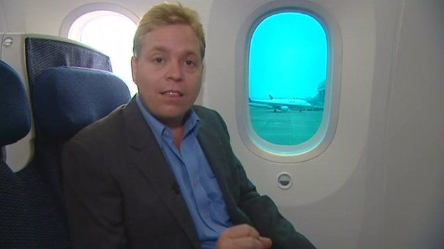 The BBC's Roland Buerk aboard an ANA Dreamliner
