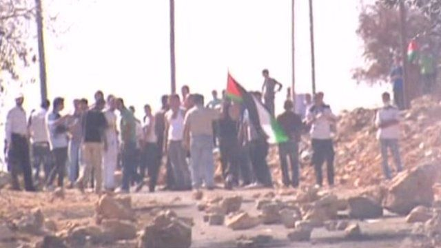 Men with a Palestinian flag