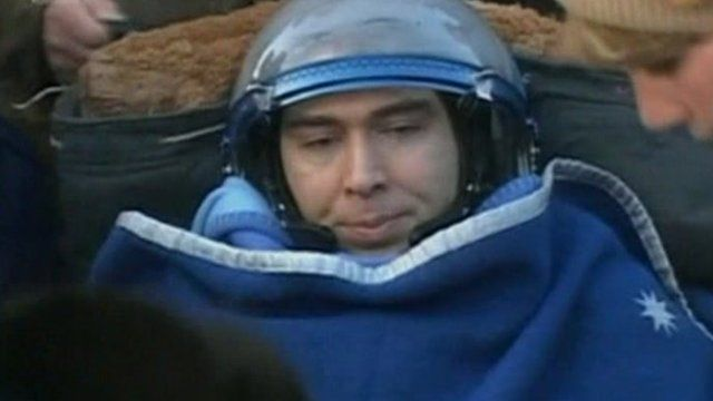 Astronaut after landing in Soyuz in Kazakhstan