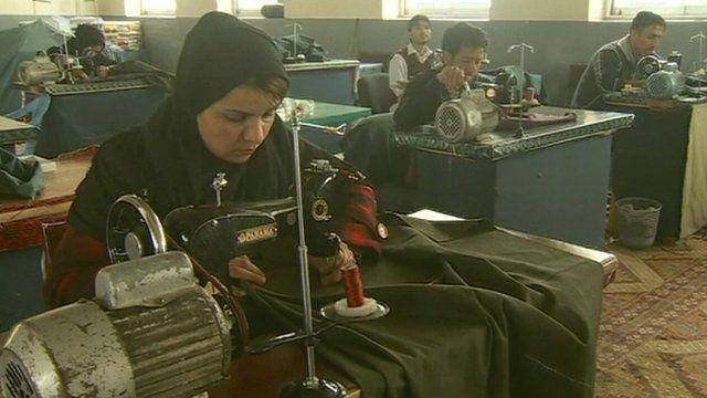 Afghan women working in factory