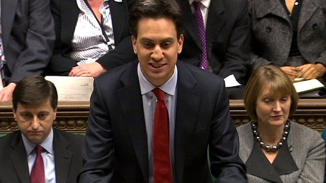 Labour leader Ed Miliband (centre)