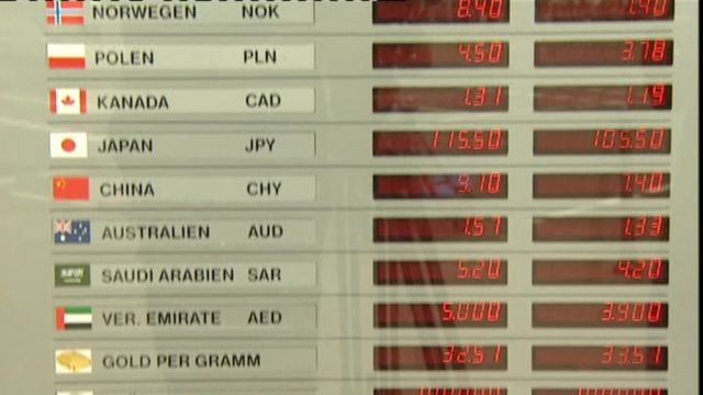 A tourist exchange rate board
