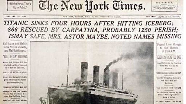 New York Times front page report of Titanic disaster