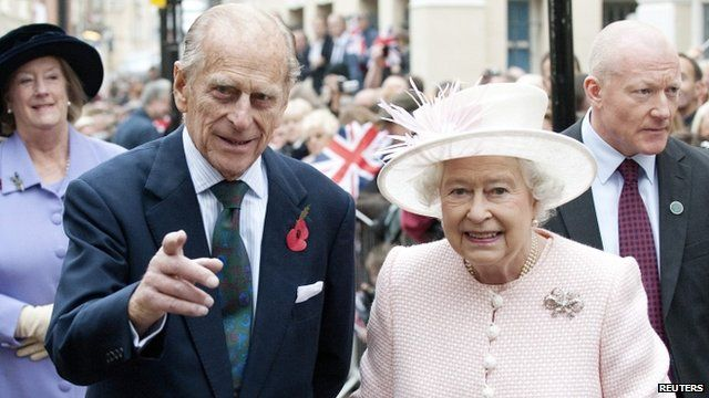 Prince Phillip and Queen Elizabeth during a visit to Margate