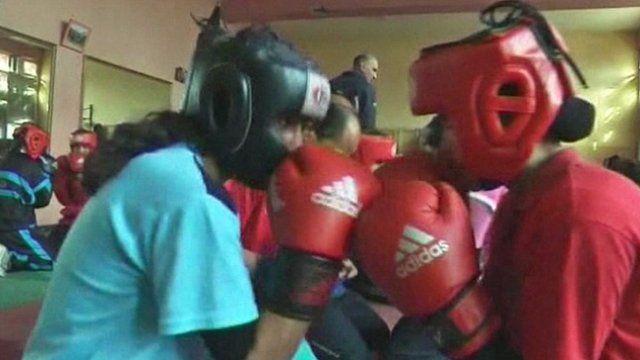 Female boxers in Afghanistan.