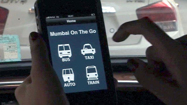 Mobile phone showing transport fare checking app