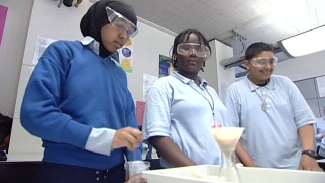 Pupils in a science lab