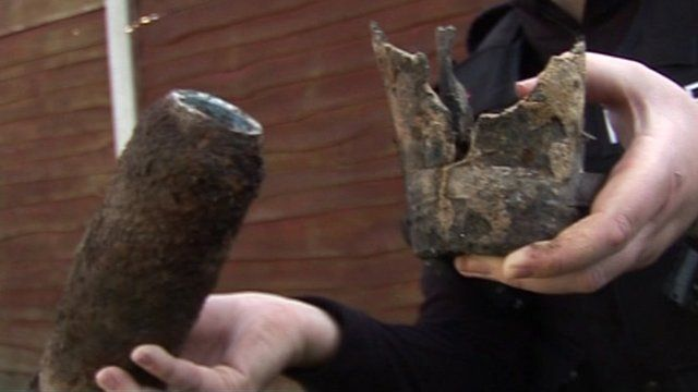 One of the detonated shells