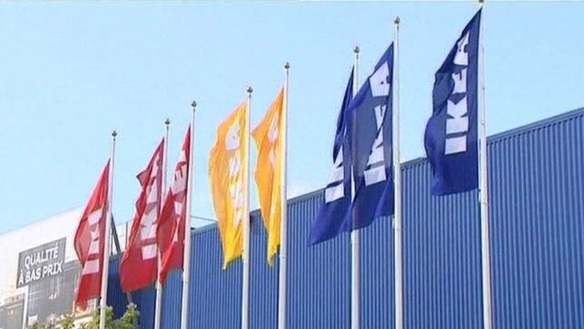 Flags outside Ikea store