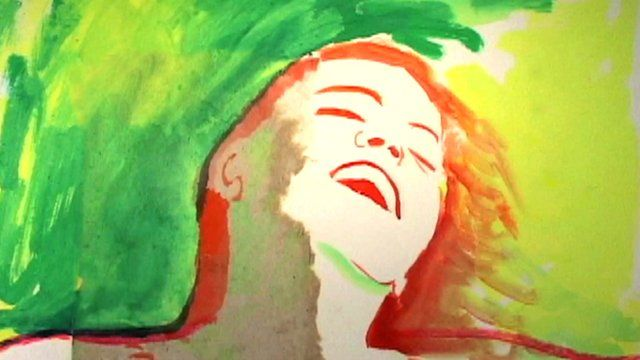 Painting of a woman smiling from an animated film by Jeff Scher