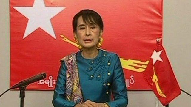 Aung San Suu Kyi speaking on state-controlled media