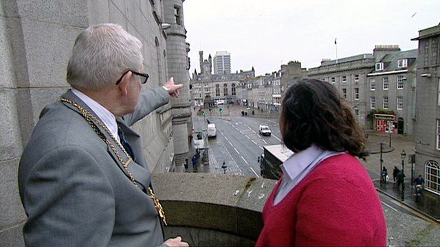 Aberdeen Lord Provost Peter Stephen and torchbearer Morgan Tunney