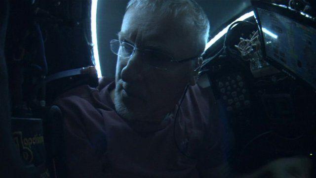 James Cameron inside Deepsea Challenger, a one-man submarine.