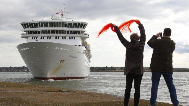 People waving goodbye to the Balmoral