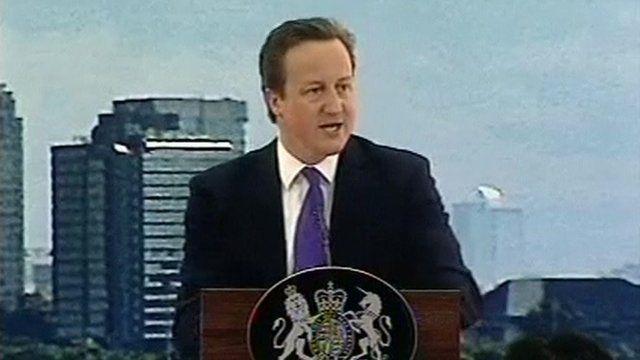 David Cameron speaks to students in Jakarta.