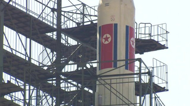 View of North Korean rocket from inside mission control earlier this week.