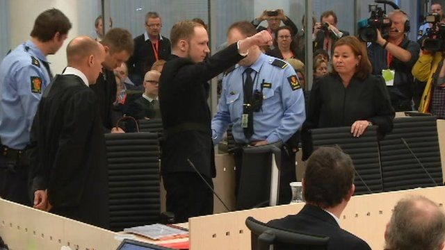 Anders Behring Breivik arrives in an Oslo court