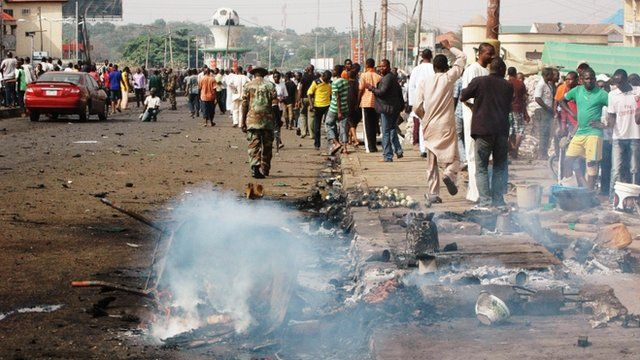 The aftermath of a bombing in Kaduna which Boko Haram is suspected of having carried out