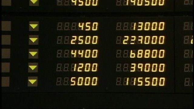 A markets board at the Hong Kong Stock Exchange
