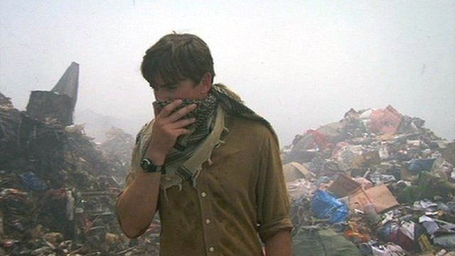 Simon Reeve at Maldives waste dump