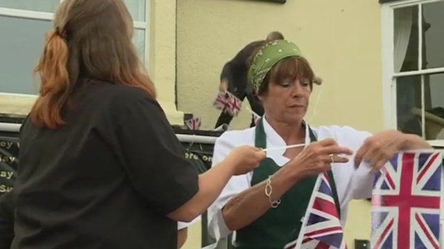 People put up Union Jack bunting in Penzance