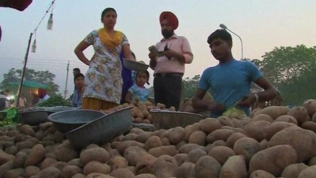 A potato market in India