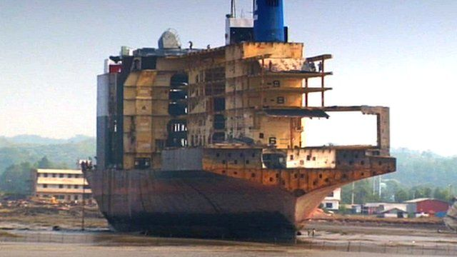 Ship being dismantled