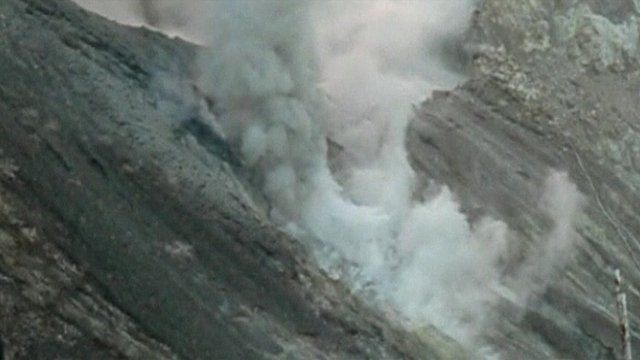 Turrialba volcano sprewing smoke