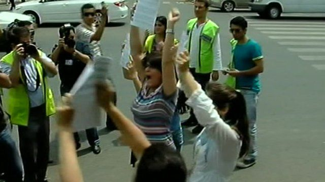 Women protesting in Azerbaijan