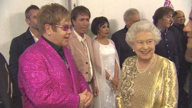 Elton John with The Queen