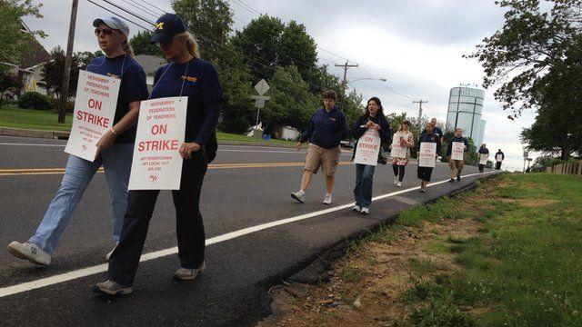 Pennsylvania school teachers on a strike's picket line