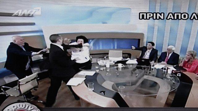 Greek politicians clash on live TV