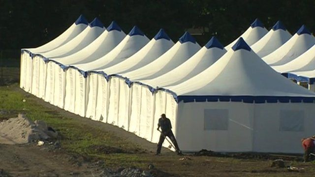 Tents for football fans in Donetsk