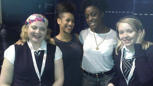 School Reporters Rebecca and Rosie from Duncarrig High School interview actresses Dominique Tipper and Lashana Lynch