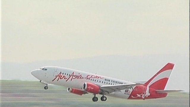 An AirAsia aircraft on take-off.