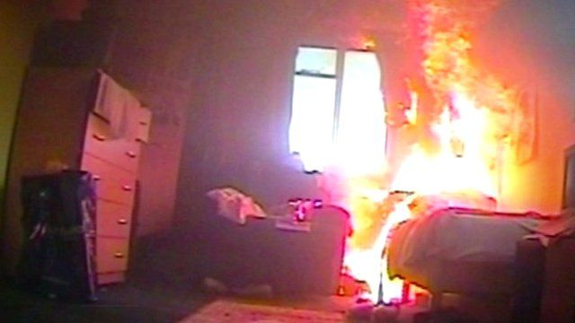 Simulated house fire