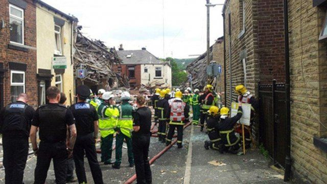 Scene of blast in Oldham