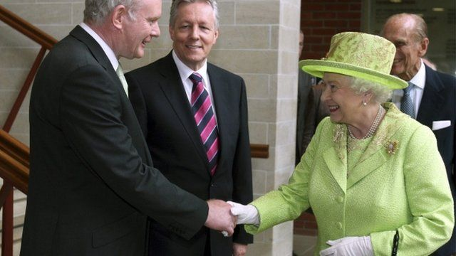 Martin McGuinness and the Queen shake hands