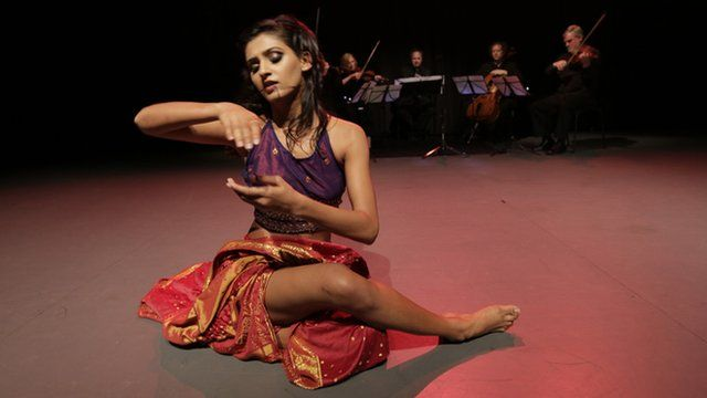 Dancer Shakti Mohan from India performs with a string quartet