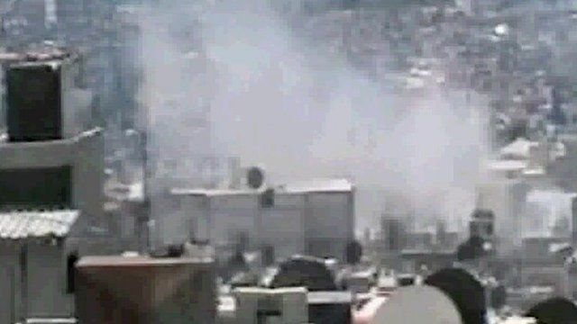 Shelling in the Syrian city of Homs