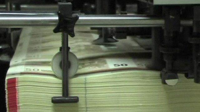 Euro bank notes printed