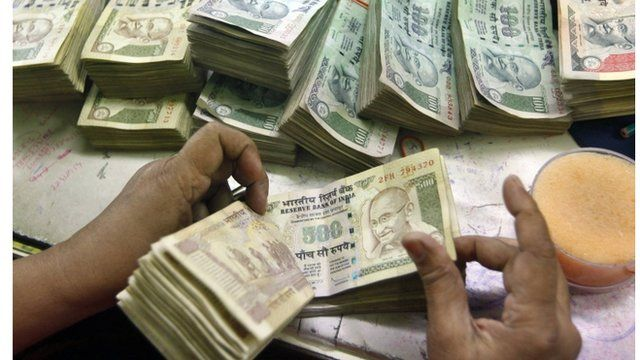 India Rupee currency bills