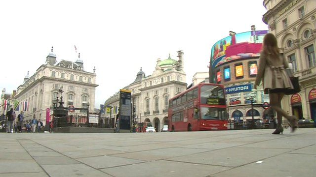 Piccadilly Circus at midday on Tuesday