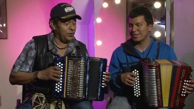 Colombian Vallenato accordionist Egidio Cuadrado and Jose Hernando Arias Noguera