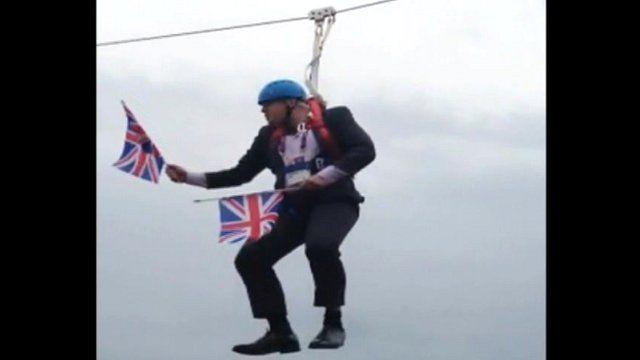 Boris Johnson stuck on a zip wire. Video: Laura Mullane