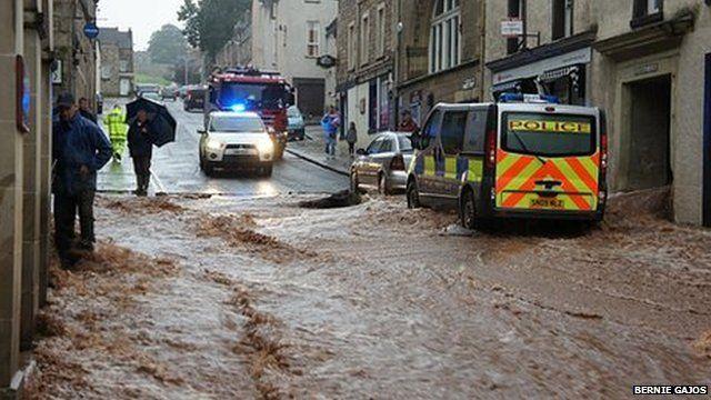 Flooding in Jedburgh (Pic by Bernie Gajos)