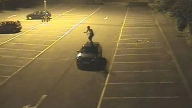 Christopher Wannell car surfing in Leisure Park car park in Basingstoke