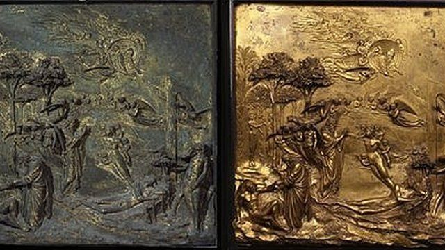 """Lorenzo Ghiberti's """"Gates of Paradise"""" before and after restoration"""