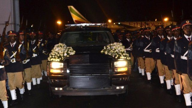 Body of the Ethiopian Prime Minister, Meles Zenawi, arrives in Addis Ababa